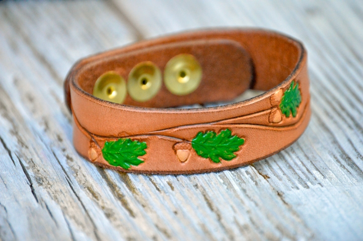 Oaks 'n Acorns Handpainted Leather Bracelet by Catfight Craft