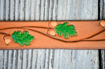 Oaks 'n Acorns Handpainted Leather Bracelet by Catfight Craft