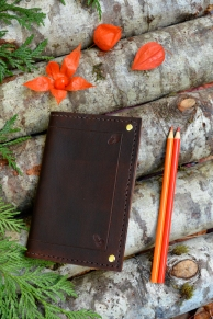 Brown Stamped Corner Leather Book Cover