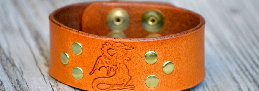Medieval Dragon Stamped Leather Bracelet by Dad on Catfight Craft