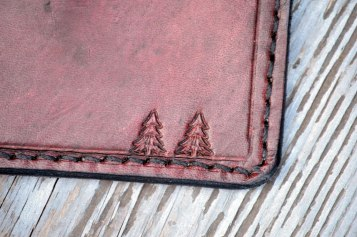 Pine Trees in Plum Leather Wallet