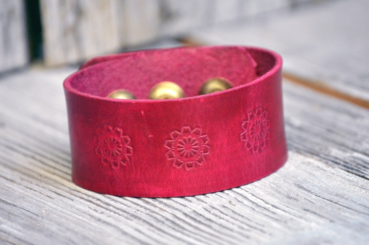 Magenta Flower Trio Leather Bracelet on Catfight Craft