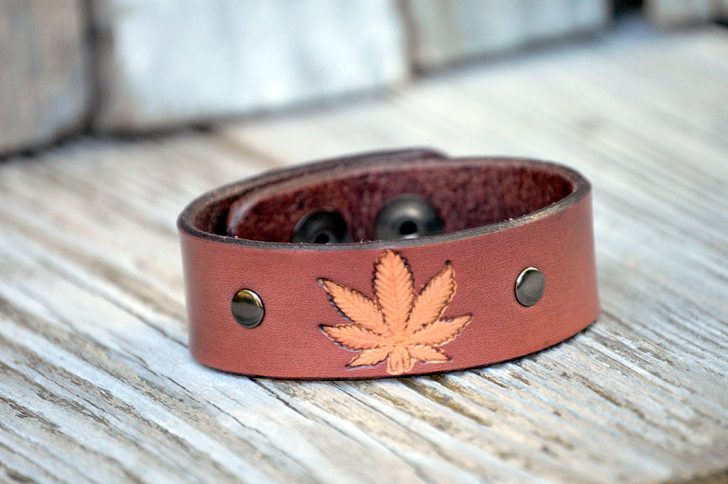 Cannabis Leaf Leather Bracelet by Catfight Craft