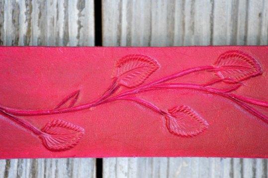 Hot Pink Leather Leaf Bracelet by Catfight Craft