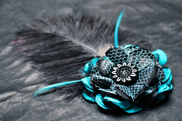 LeatherAndLace Teal Fascinator