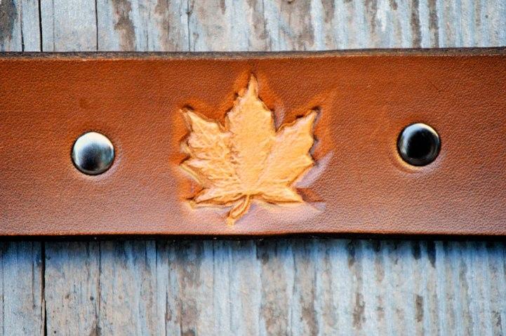 Dark Brown Leather Maple Leaf Bracelet on Catfight Craft