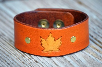 Light Brown Leather Maple Leaf on Catfight Craft