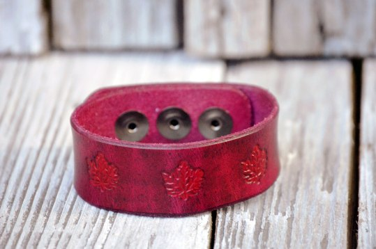 Leather Maple Leaf Trio Bracelet