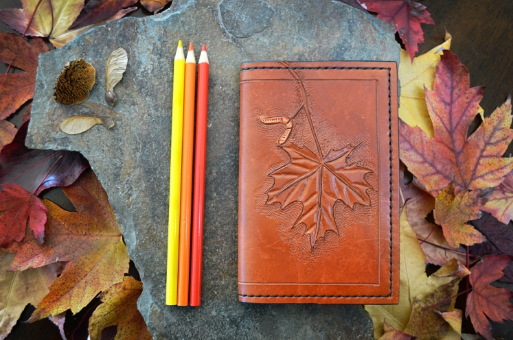 Maple Leaf and Seed Leather Journal