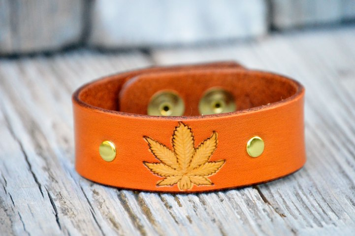 Tan Leather Cannabis Leaf Bracelet by Catfight Craft