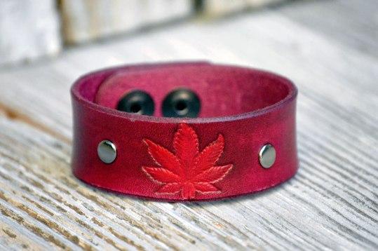 Pink Leather Marijuana Leaf Bracelet by Catfight Craft