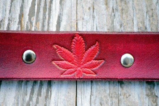 Pink Leather Marijuana Leaf Bracelet by Catfight Craft