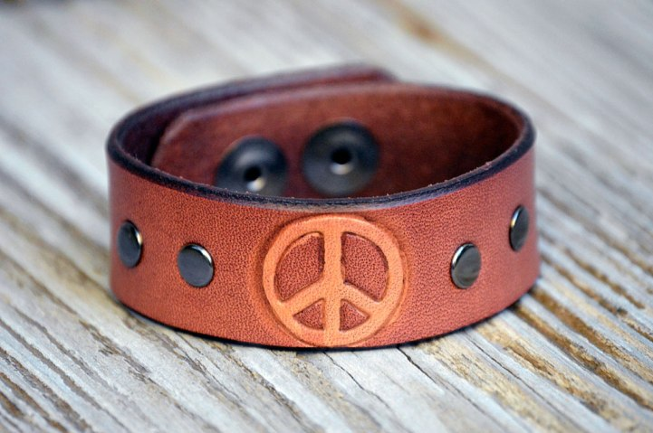 Doug Potter's pink peace handmade leather cuff