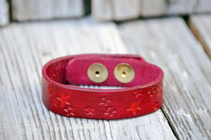 Red Star Leather Bracelet on Catfight Craft
