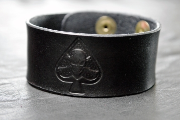 Ace & Skull Black Leather Bracelet