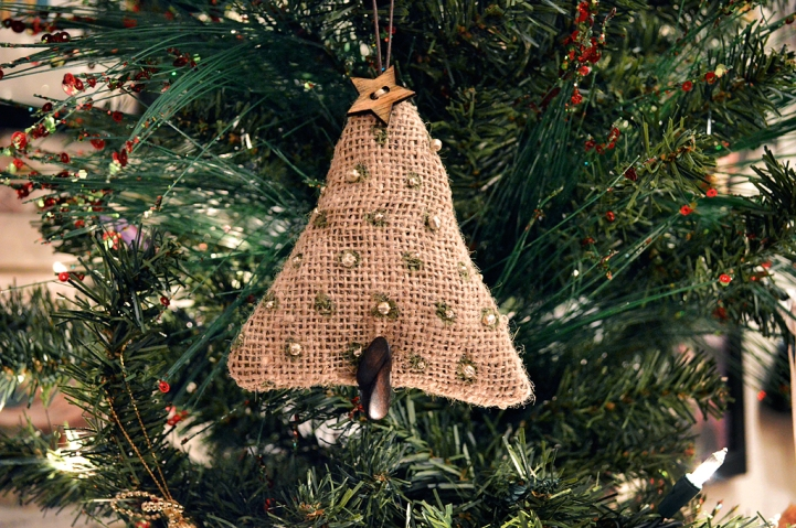 Painted Burlap Handmade Christmas Tree Ornament