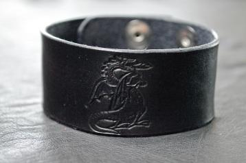 Dragon Fantasy Black Leather Bracelet