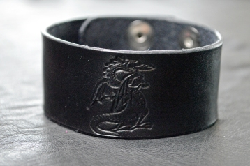 Dragon Fantasy Black Leather Bracelet