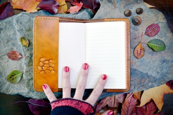 Fall Tree and Leaves Leather Journal with replaceable notebook