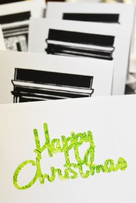 Happy Christmas Fireplace Block Print by Brianna, CFC