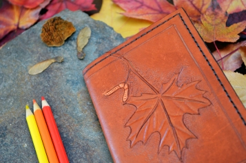 Maple Leaf and Seed Leather Book Cover
