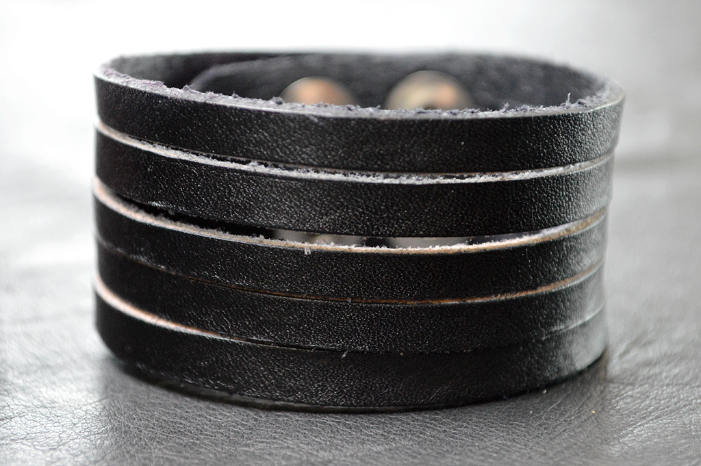 Strappy Black Leather Bracelet