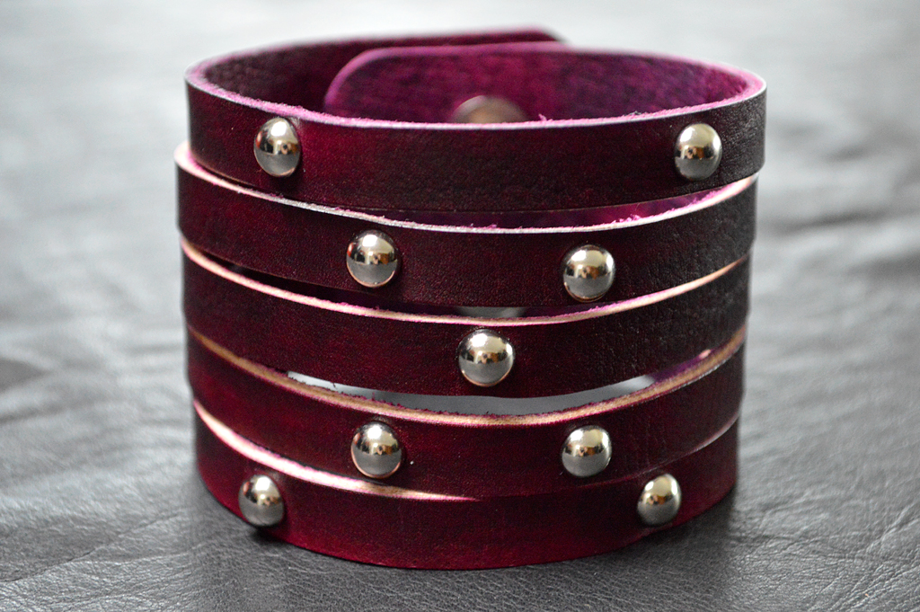 Strappy X Pink Leather Cuff with Silver Studs
