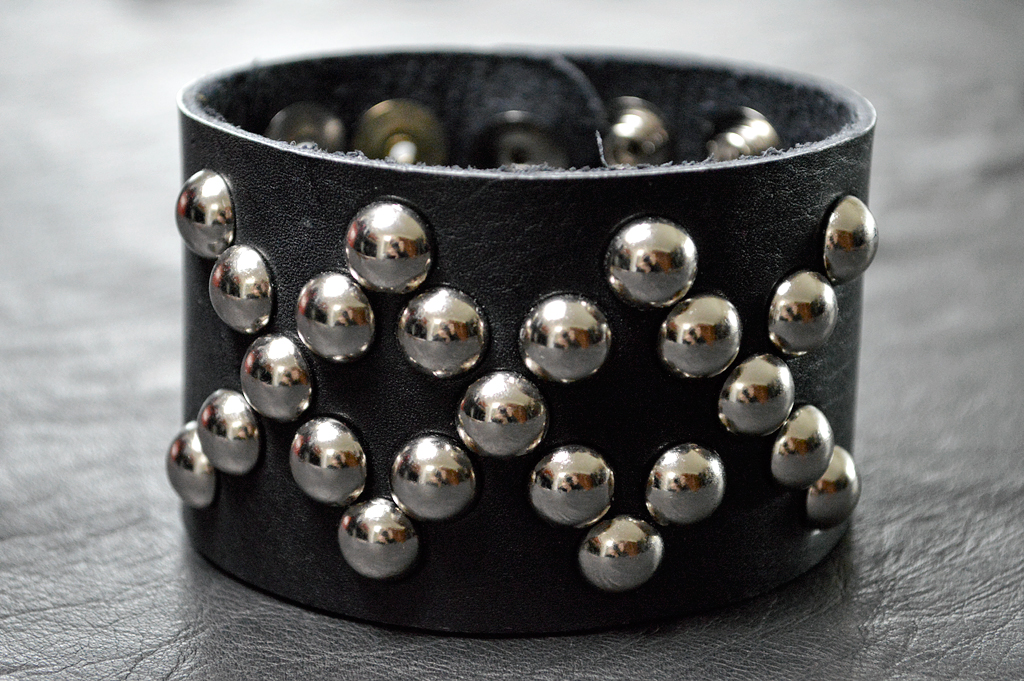 Triple X Black Leather Cuff with Silver Studs