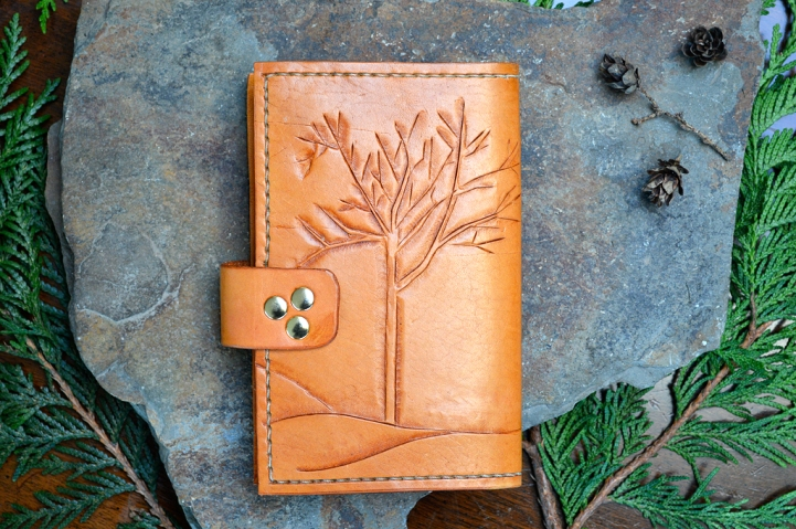 Winter Trees Leather Journal with replaceable notebook