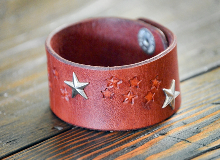 Doug Potter's silver star duo handmade leather cuff