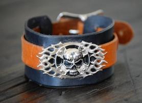 Doug Potter's skull buckle handmade leather cuff